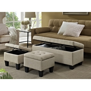 Picket House Everett 3pk Storage Ottoman in Natural