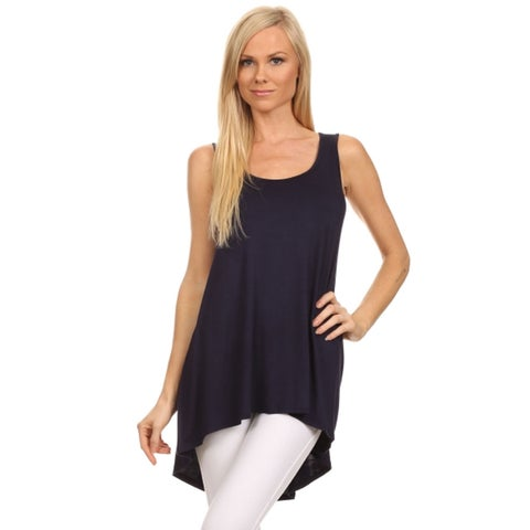 MOA Collection Women's Blue/Black/Grey/Green/Pink/Khaki/Off-white Rayon/Spandex Solid Tank Top