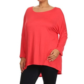 MOA Collection Women's Solid Rayon Plus-size Tunic Top