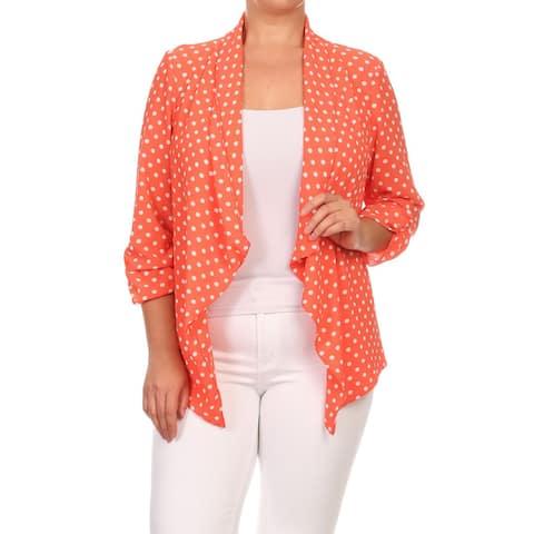 MOA Collection Women's Plus Size Polka Dot Cardigan