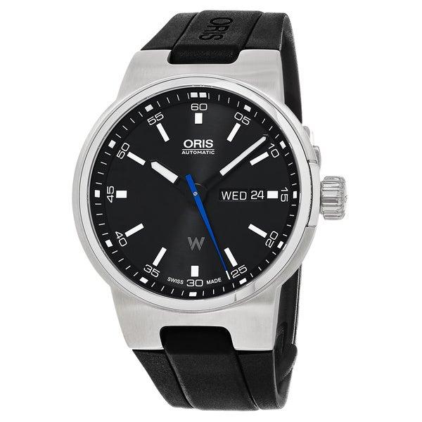 Oris Men's 01 735 7716 4154-07 4 24 50 'Williams F1 DD' Black Dial Black Rubber Strap Day Date Swiss Automatic Watch