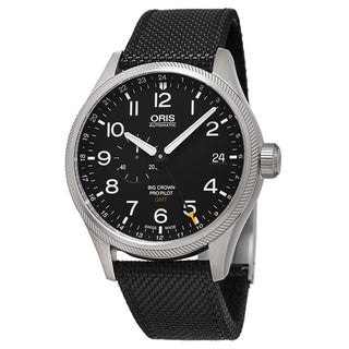 Oris Men's 748 7710 4164 LS 15 'Big Crown' Black Dial Black Textile Strap ProPilot GMT Swiss Automatic Watch