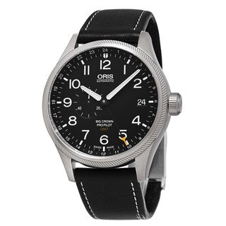 Oris Men's 748 7710 4164 LS 19 'Big Crown' Black Dial Black Leather Strap ProPilot GMT Swiss Automatic Watch
