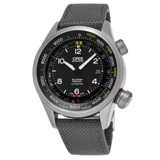 Oris Men's 733 7705 4164-Set 5 23 17FC 'Big Crown' Black Dial Grey Textile Strap ProPilot Altimeter Swiss Automatic Watch|https://ak1.ostkcdn.com/images/products/11914668/P18806322.jpg?impolicy=medium