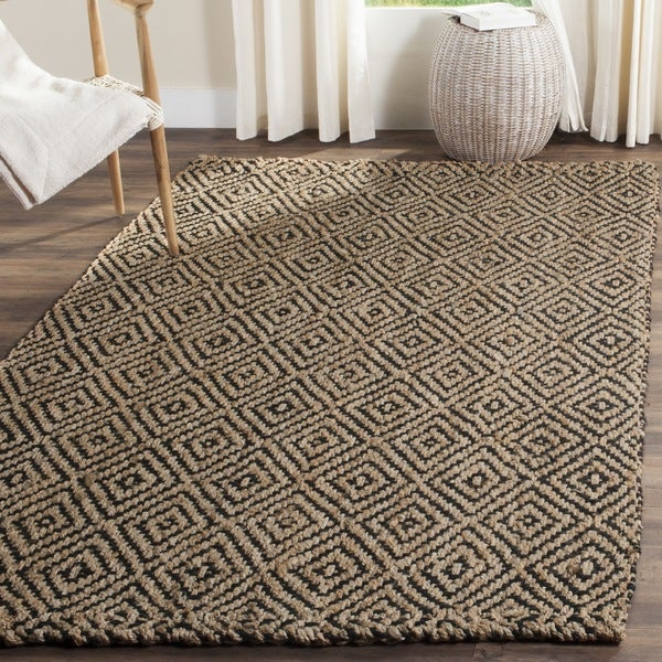 Safavieh Casual Natural Fiber Hand-Woven Natural / Black Jute Rug (3' x 5')