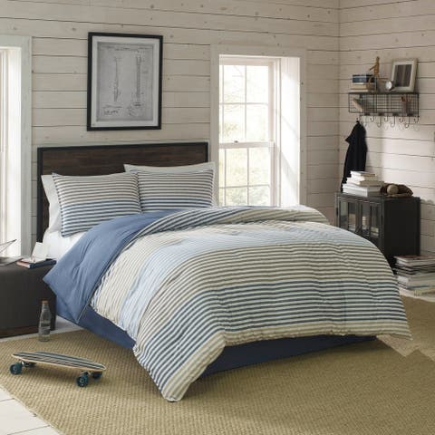IZOD Chambray Stripe Comforter Set with Shams and Bed Skirt