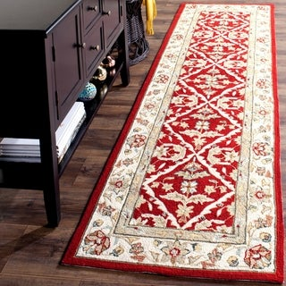 Safavieh Hand-hooked Easy to Care Red/ Ivory Rug (2' 6 x 10')