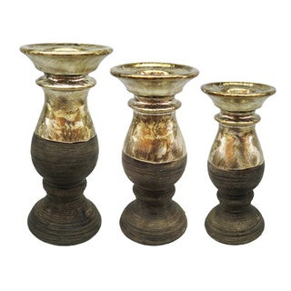 D'Lusso Designs Madison Collection Gold/Brown Ceramic Candle Holders (Pack of 3)