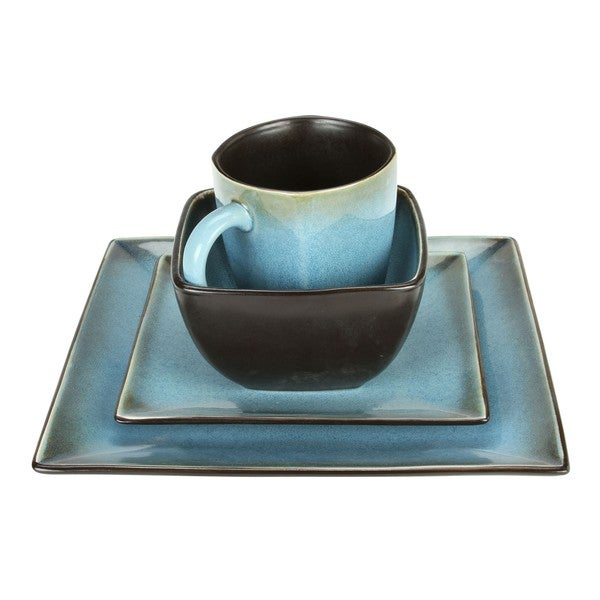 haus earthtone blue stoneware 16 piece square dinnerware set free