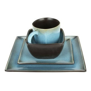 Haus Earthtone Blue Stoneware 16-piece Square Dinnerware Set