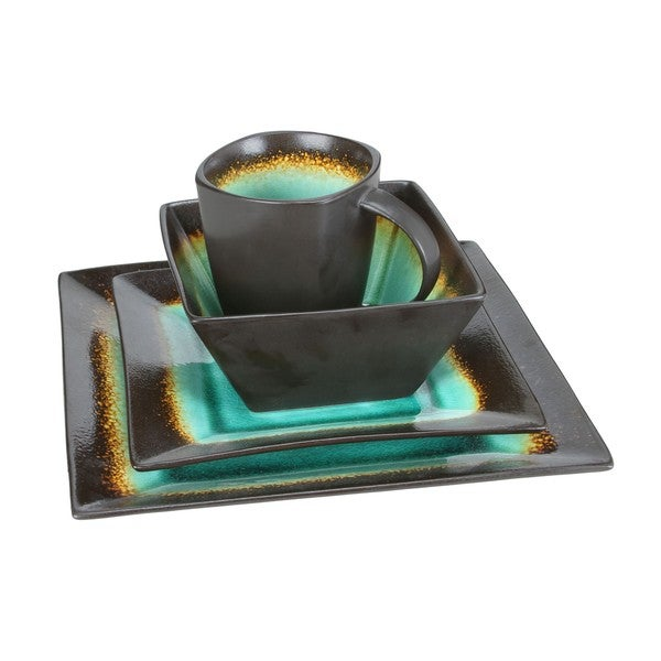 Haus Earthtone Brown/Jade Stoneware 16-piece Square Dinnerware Set  sc 1 st  Overstock.com & Haus Earthtone Brown/Jade Stoneware 16-piece Square Dinnerware Set