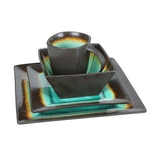 Haus Earthtone Brown/Jade Stoneware 16-piece Square Dinnerware Set