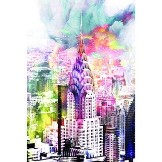 Cortesi Home 'New York Splatter' Tempered Glass Wall Art