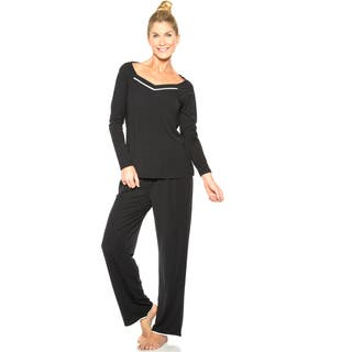 Rhonda Shear Women's Polyester/Spandex Ruffle-trim PJ Set (Option: S)|https://ak1.ostkcdn.com/images/products/11914855/P18806414.jpg?impolicy=medium