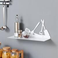 Danya B. White Metal Kitchen Utility Shelf with Kitchen Utensils Design