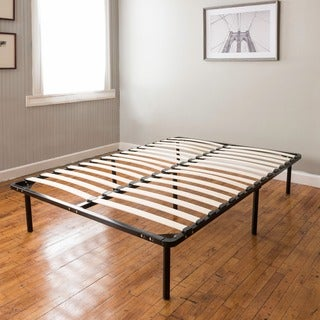PostureLoft Wood Slat and Metal Platform Full-size Bed Frame and Mattress Foundation