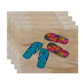 18 x 14-inch Beach Shoes Geometric Print Placemat (Set of 4)