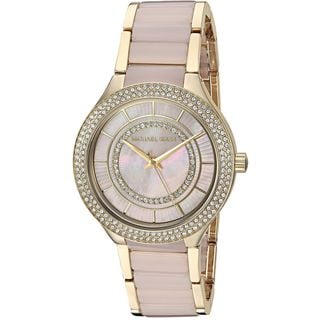 Michael Kors Women's MK3508 'Kerry' Crystal Gold-tone and Pink Stainless steel and Acetate Watch