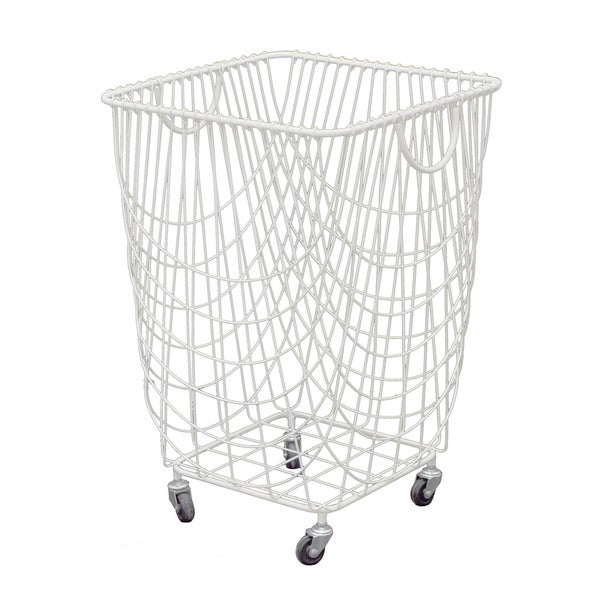 white metal durable rolling laundry basket