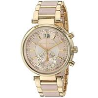Michael Kors Women's MK6360 'Sawyer' Dual Time Crystal Gold-tone and Pink Stainless steel and Acetate Watch