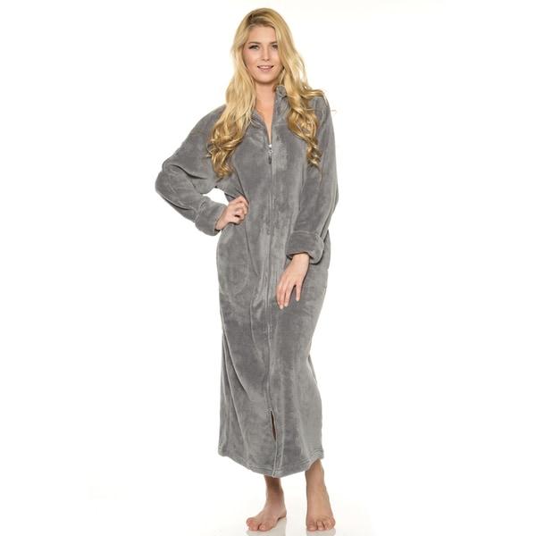 796afdea5e Shop Rhonda Shear 52-Inch Solid-colored Plush Zip-front Robe - Free ...