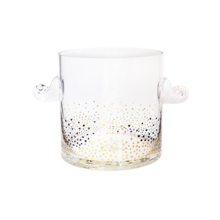 Fitz Floyd Gold Luster Clear Glass 9-inch x 6-inch Ice Bucket