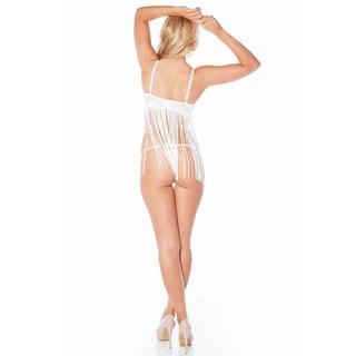 Rhonda Shear Harlequin Women's White/Black/Pink Nylon/Spandex Fringe Set