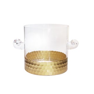 Fitz Floyd Daphne Gold Glass Ice Bucket