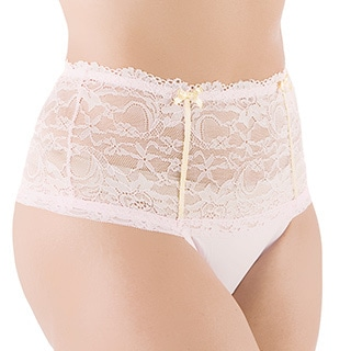 Rhonda Shear Ambrosia Women's Solid-color Lace High-waist Panty with Thong Back