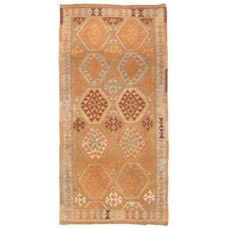 Herat Oriental Afghan Hand-woven Mimana Kilim Tan/ Gray Wool Runner (3'2 x 6'5)