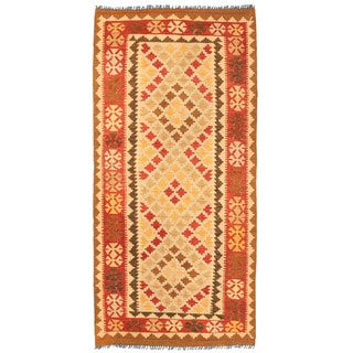 Herat Oriental Afghan Hand-woven Wool Mimana Kilim Runner (3'4 x 6'10)