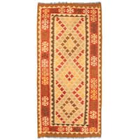 Handmade Herat Oriental Afghan Wool Mimana Kilim Runner (Afghanistan) - 3'4 x 6'10