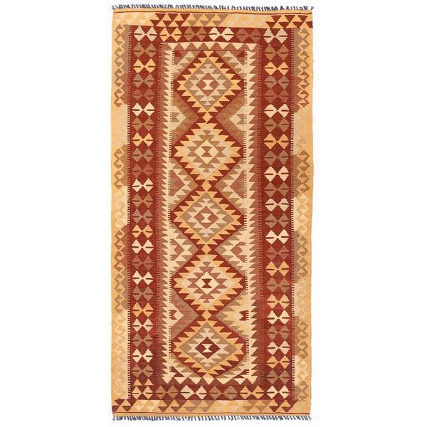 Handmade Herat Oriental Afghan Wool Mimana Kilim Runner (Afghanistan)