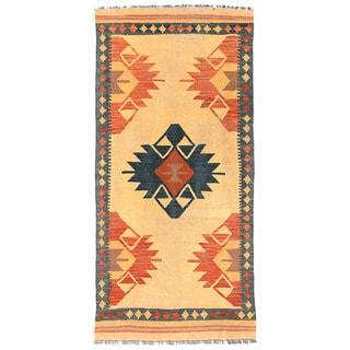 Herat Oriental Afghan Hand-woven Mimana Kilim Ivory/ Navy Wool Runner (3'2 x 6'8)