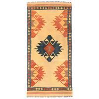Handmade Herat Oriental Afghan Wool Mimana Kilim Runner (Afghanistan) - 3'2 x 6'8