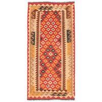 Herat Oriental Afghan Hand-woven Wool Mimana Kilim Runner (3'2 x 6'7) - 3'2 x 6'7
