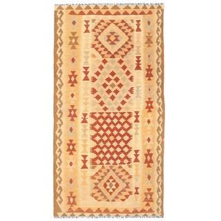 Handmade One-of-a-Kind Wool Mimana Kilim Runner (Afghanistan) - 3'3 x 6'4