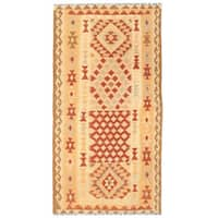 Handmade Herat Oriental Afghan Wool Mimana Kilim Runner (Afghanistan) - 3'3 x 6'4