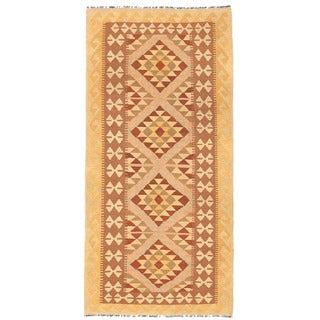 Herat Oriental Afghan Hand-woven Mimana Kilim Rust/ Ivory Wool Runner (3'2 x 6'9)