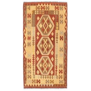 Herat Oriental Afghan Hand-woven Wool Mimana Kilim Runner (3'4 x 6'6)