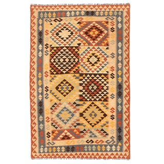 Herat Oriental Afghan Hand-woven Wool Mimana Kilim (4'2 x 6'7)