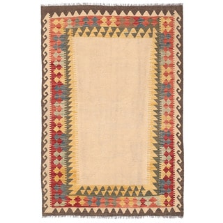 Herat Oriental Afghan Hand-woven Mimana Kilim Ivory/ Gold Wool Rug (4'3 x 6'3)