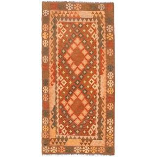 Herat Oriental Afghan Hand-woven Mimana Kilim Rust/ Brown Wool Runner (3'5 x 7'1)