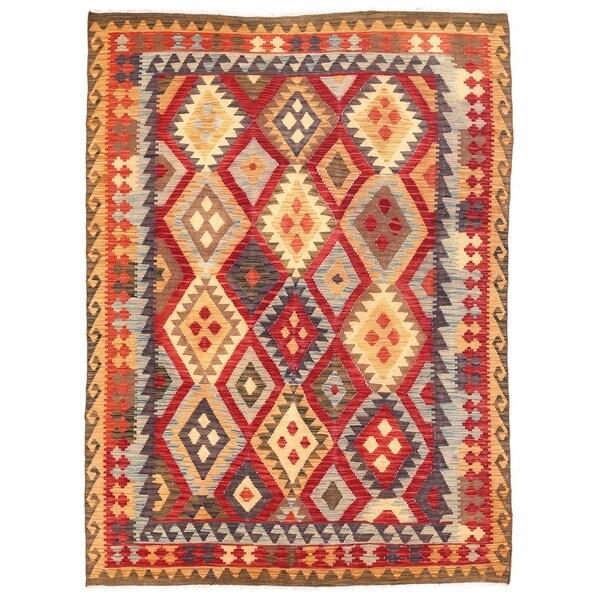 Handmade Herat Oriental Afghan Wool Mimana Kilim (Afghanistan) - 5'5 x 7'2