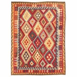 Herat Oriental Afghan Hand-woven Mimana Kilim Red/ Peach Wool Rug (5'5 x 7'2)
