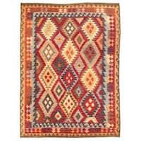 Herat Oriental Afghan Hand-woven Wool Mimana Kilim (5'5 x 7'2) - 5'5 x 7'2