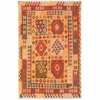Herat Oriental Afghan Hand-woven Wool Mimana Kilim (4'6 x 6'8)