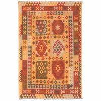 Handmade Herat Oriental Afghan Wool Mimana Kilim (Afghanistan) - 4'6 x 6'8