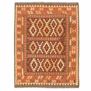 Herat Oriental Afghan Hand-woven Mimana Kilim Burgundy/ Ivory Wool Rug (5' x 6'8)