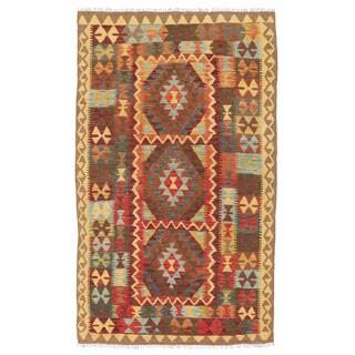 Herat Oriental Afghan Hand-woven Mimana Kilim Ivory/ Burgundy Wool Rug (4' x 7')